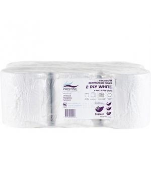 Pristine Std Centrefeed 2Ply 150M White (Case of 6)
